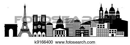 Stock Illustrations of Paris France City Skyline Panorama Clip Art.