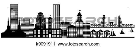 Clipart of Portland City Skyline Panorama Clip Art k9091911.