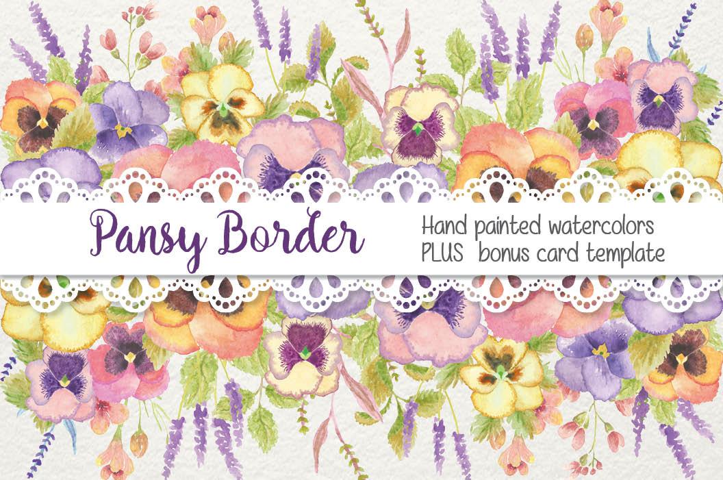Watercolor border of pansies.