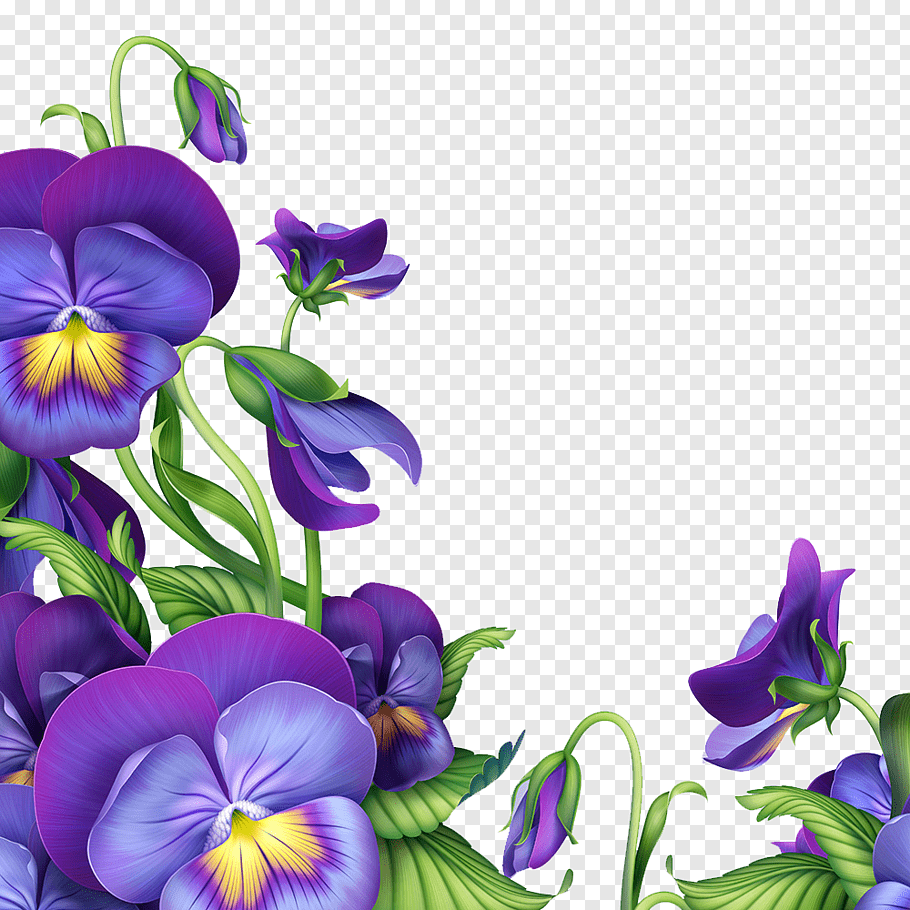 Purple and green pansy flowers border art, Paper Flower.