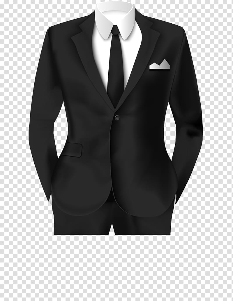 Black notch lapel suit jacket and dress pants, Tuxedo Suit.