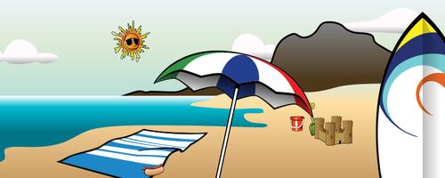 Musim panas di pantai vektor gambar.