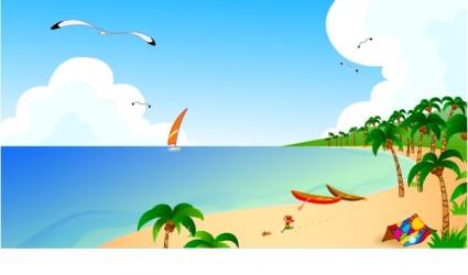 Summer Beach Landscape Vector.