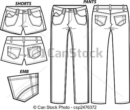 Ilustraciones de Vectores de dama, Moda, Conjunto, pantalones.