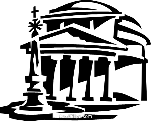 pantheon, Rome Italy Royalty Free Vector Clip Art.
