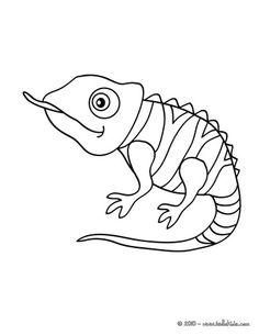Cute chameleon clipart black white.