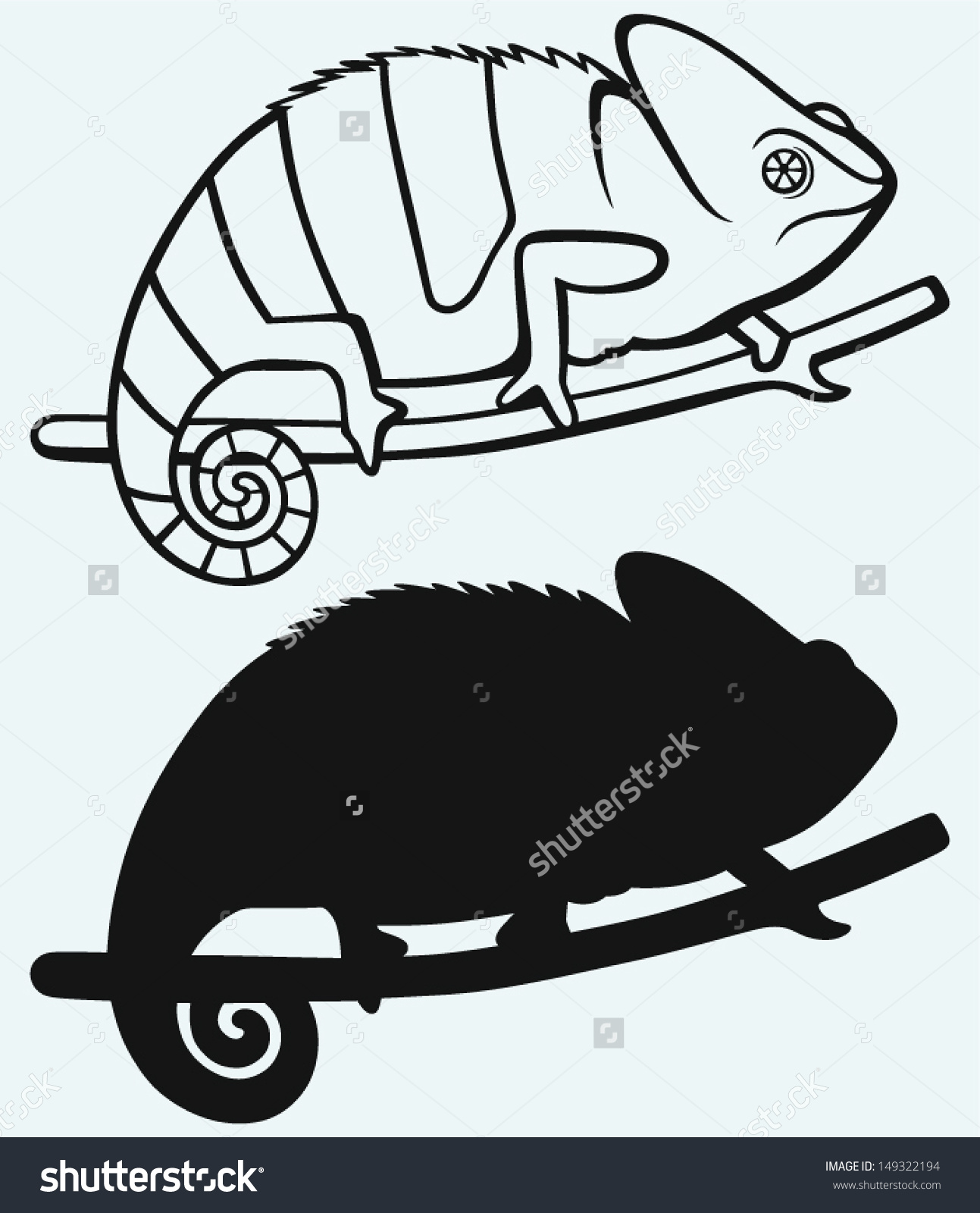 Silhouette Chameleon Isolated On Blue Background Stock Vector.