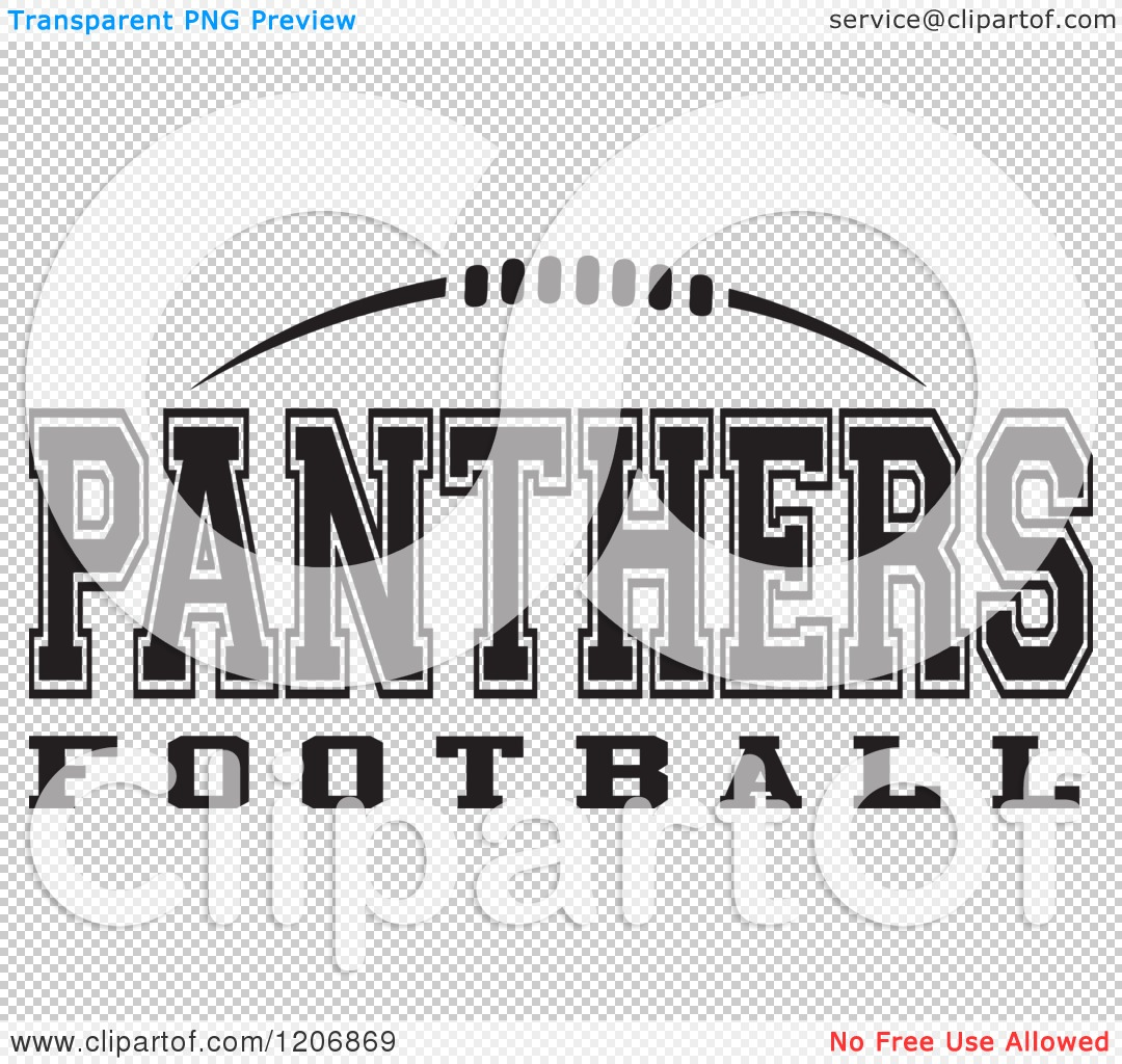 Clipart of a Black and White American Football and PANTHERS.