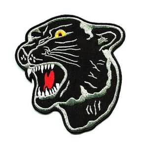 Details about 4 In. Back Patch Black Panther Head Tiger Cat Logo  Embroidered Sew Iron.