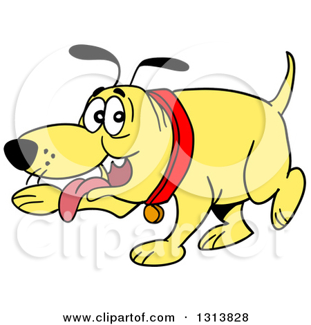 Clipart of a Cartoon Yellow Dog Panting and Pointing with a Paw.