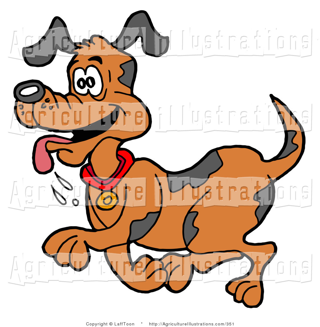 Agriculture Clipart of a Happy Panting Brown Dog with Spots.