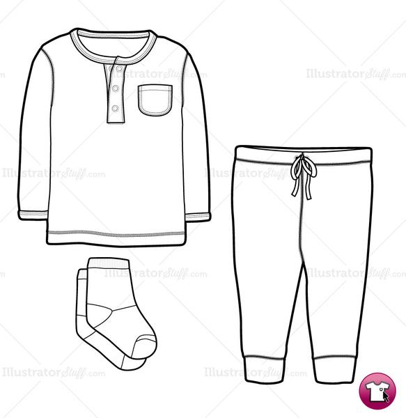 Infant Shirt, Pant and Socks Fashion Flat Template.