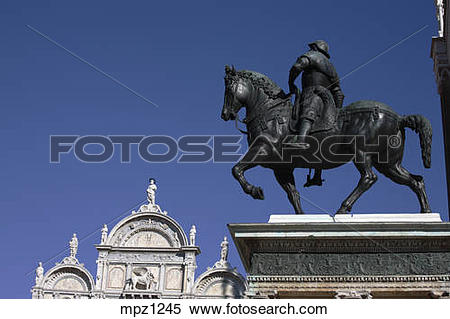 Stock Image of Colleoni equestrian monument in Campo San Giovanni.