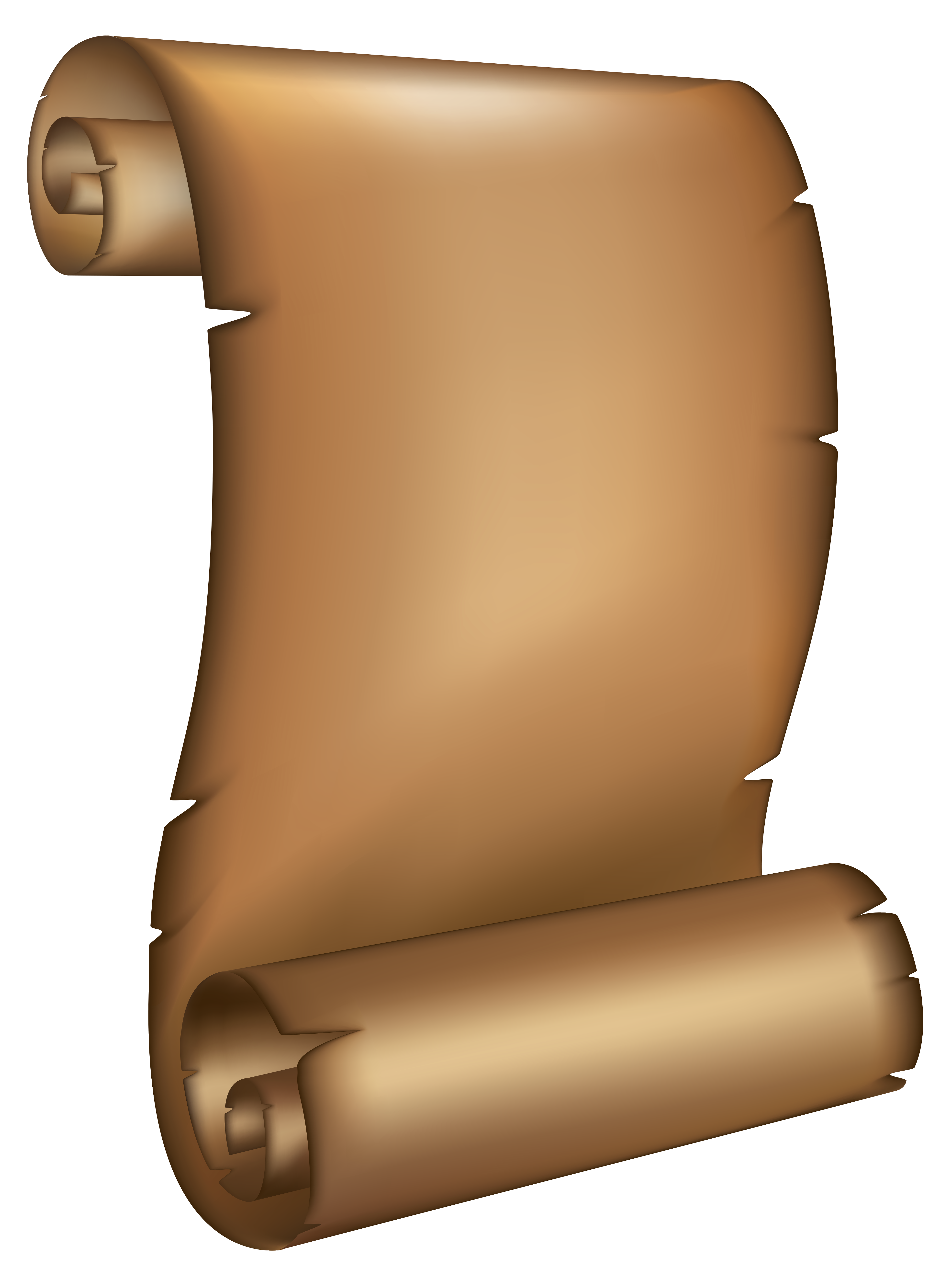 Ancient Scrolled Paper PNG Clipart Image.