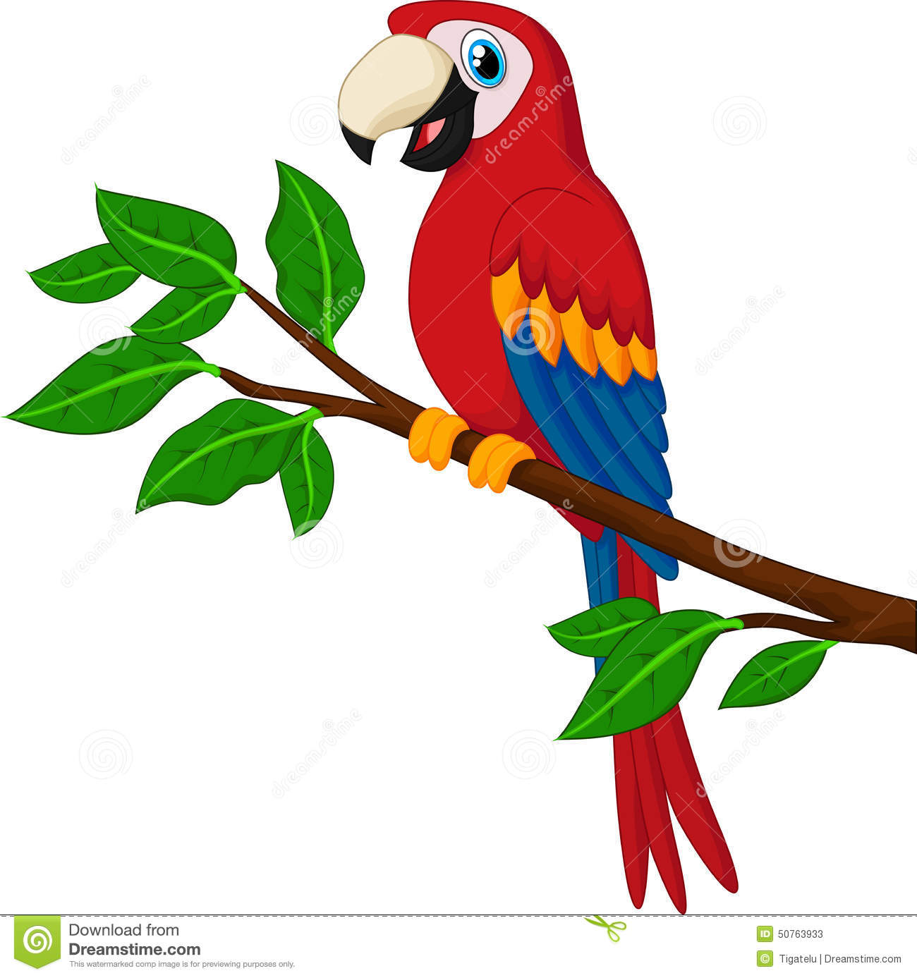 Cartoon Red Parrot On A Branch Stock Vector.