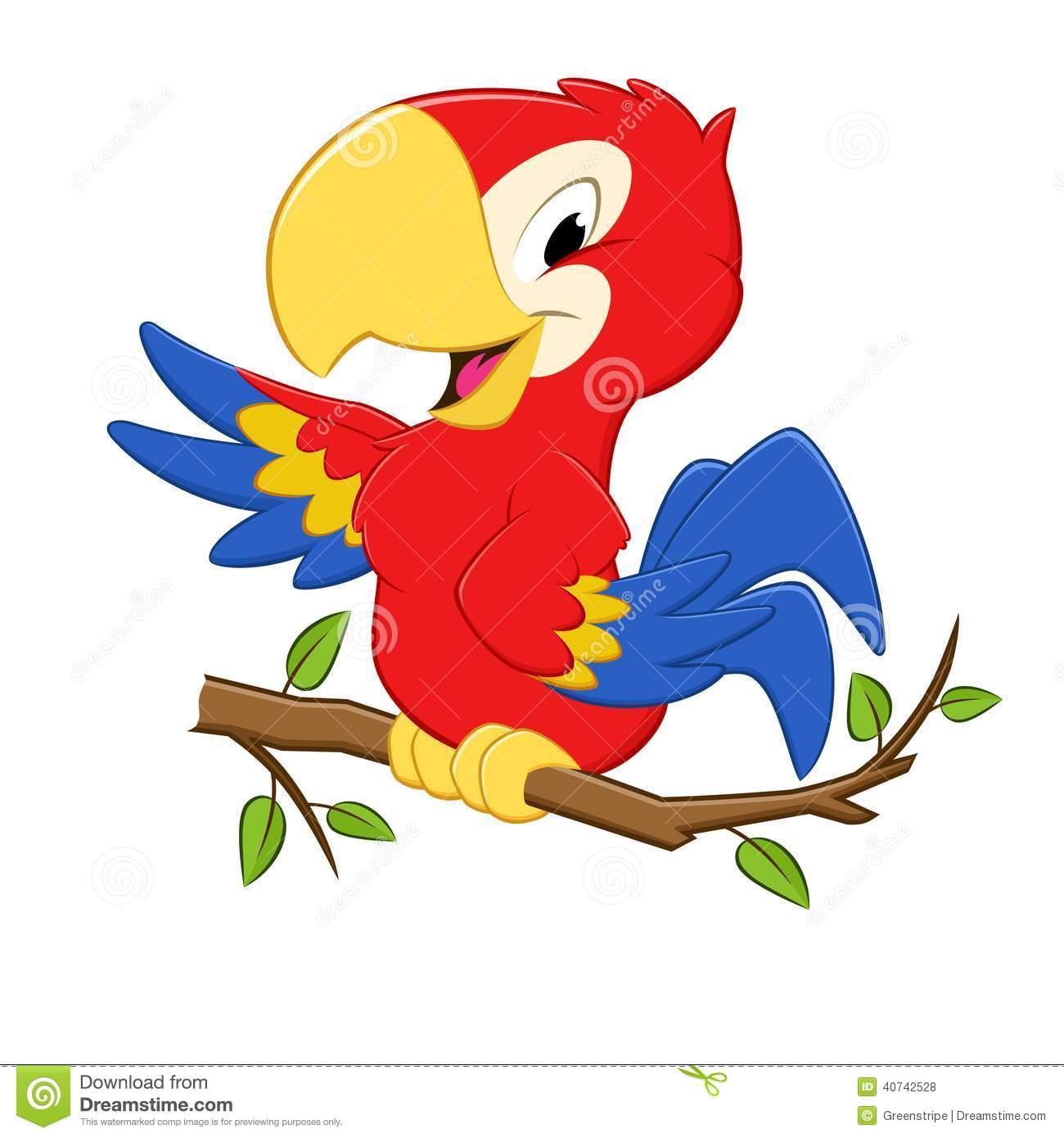 Cartoon Parrot Stock Vector.