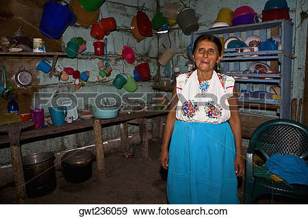 Stock Photograph of Mature woman standing in a kitchen, Papantla.