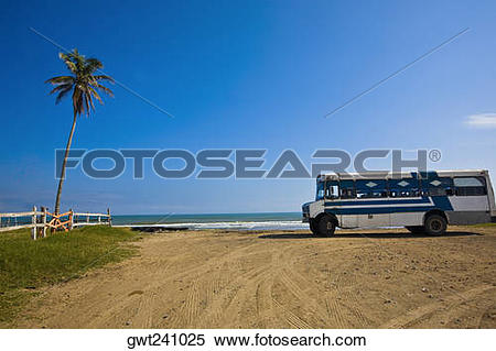 Stock Image of Bus parked on the beach, Ranch Beach, Papantla.