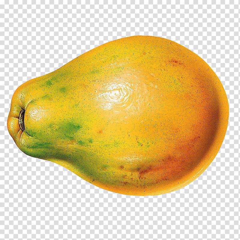 Fruits, yellow papaya fruit transparent background PNG.