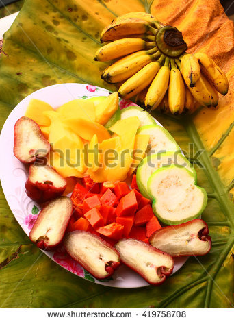Tropical Cut Fruit Plate Papaya Apple Pineapple Mango Huava Mini.