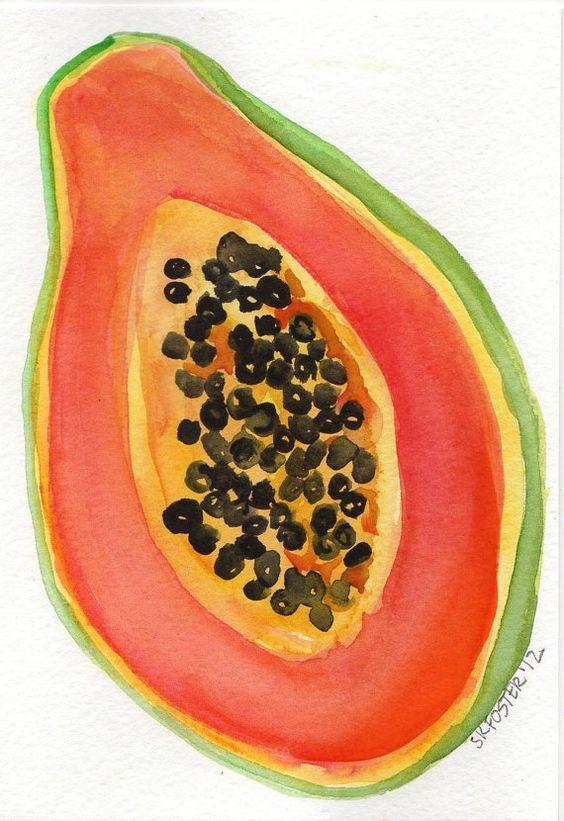 Papaya painting, Original Watercolor Painting Fruit Series, great.