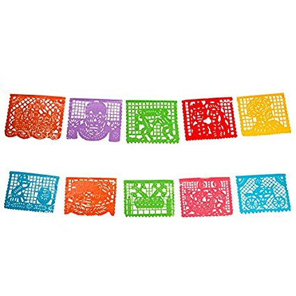 Authentic day of the dead mexican papel picado 5 meters.