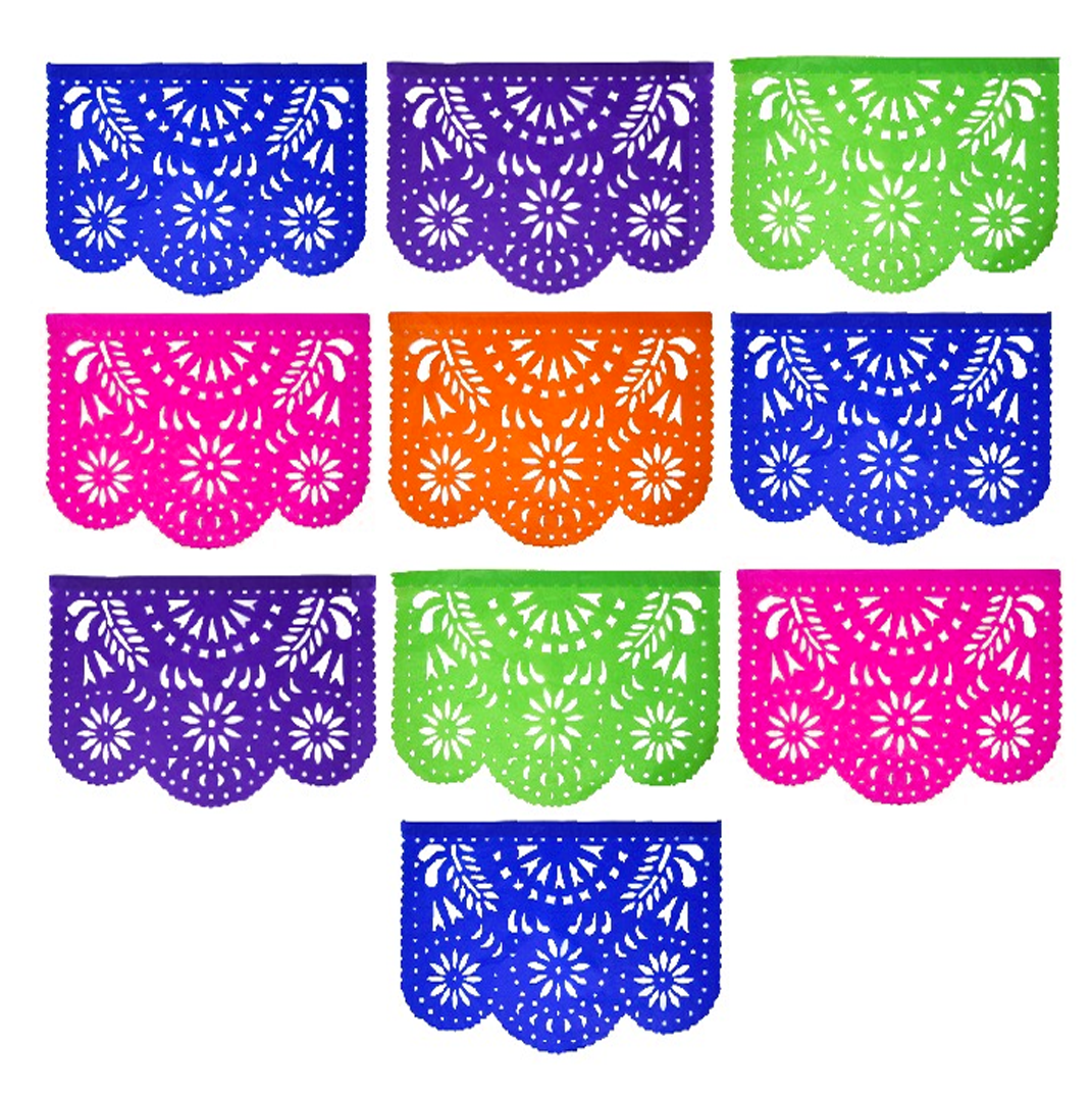 Mexican Fiesta Floral Papel Picado Banner 4 Pack, Each Banner 14 feet Long  with 10 Multi.
