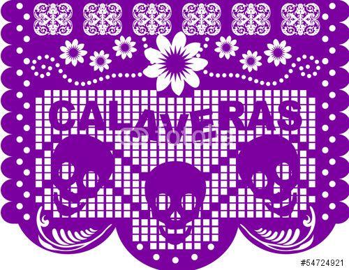 Vector: Papel Picado Día de Muertos.