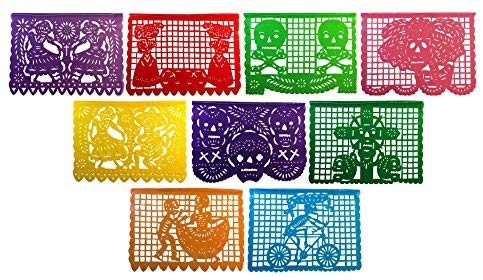 Paper Full of Wishes Large Plastic Day of The Dead Papel Picado Banner.