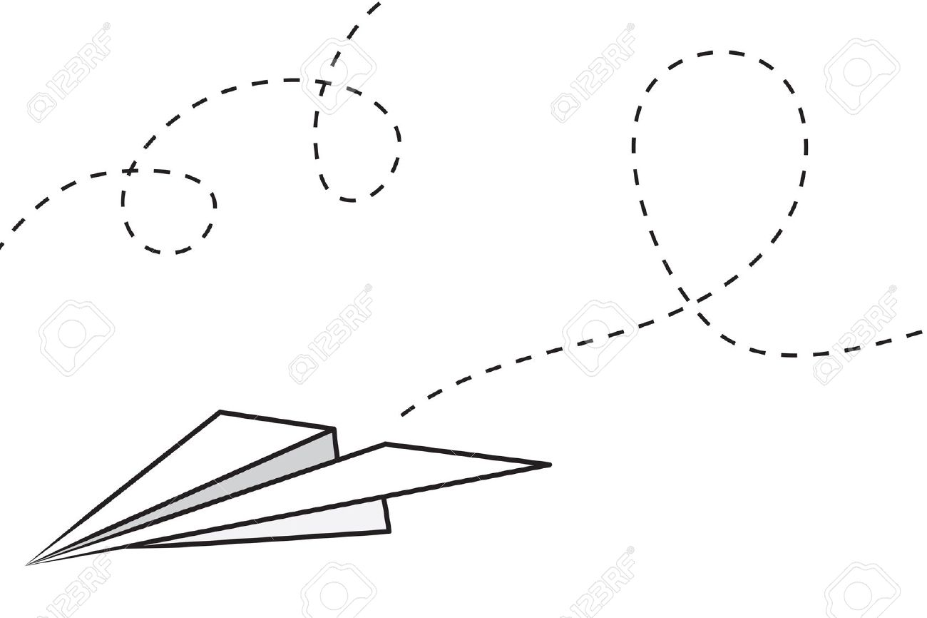 Flying paper airplane clipart.