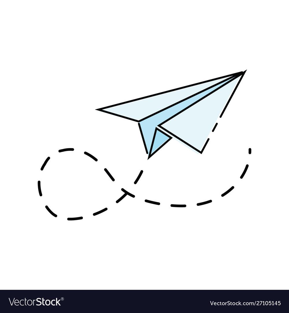 Cartoon paper airplane logo aircraft made.