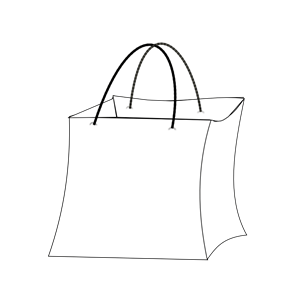 Paper bag clipart black and white.