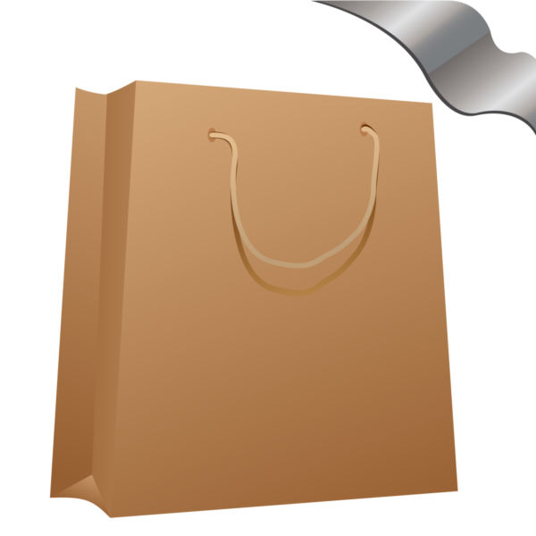 Clip art of brown paper bag.