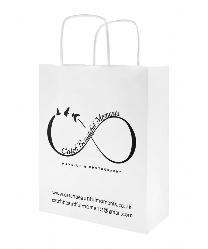 PAPER BAG 180x80x225mm TWISTED HANDLE PRINTED.