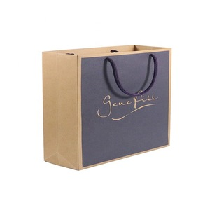Wholesale Custom Printed Your Own Logo White Brown Kraft Gift Craft  Shopping Paper Bag With Ribbon Handles.