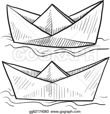 Origami Paper Boat Clip Art.