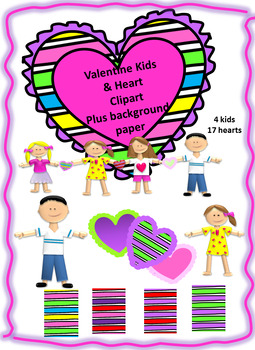 Valentine Kids, Hearts and Background Paper Clipart.