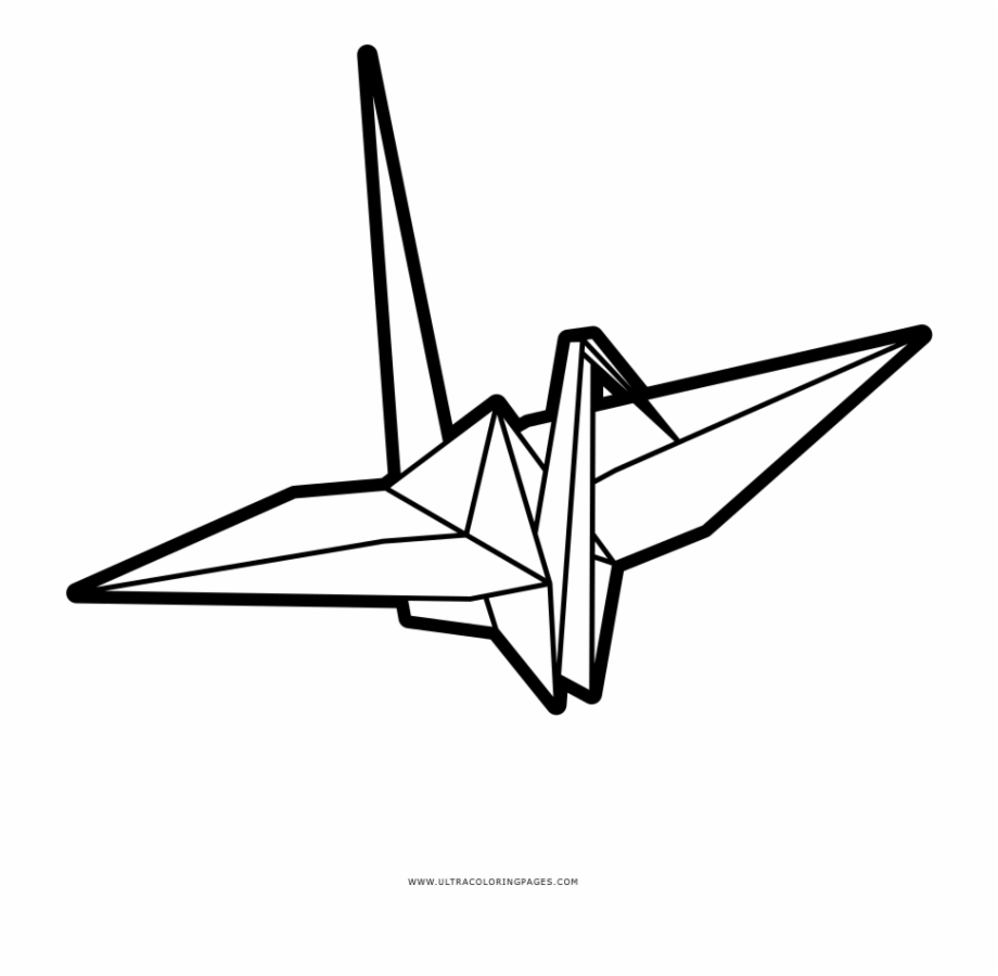 Origami Crane Coloring Page.