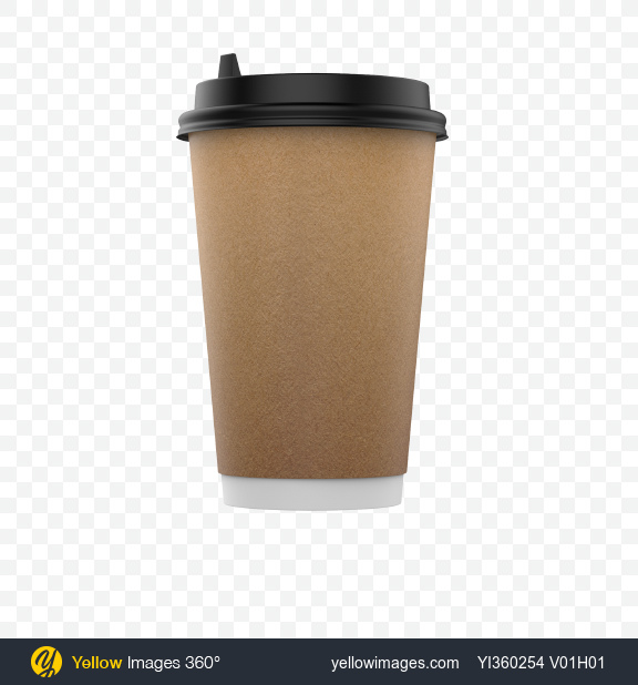 Download Big Craft Paper Coffee Cup Transparent PNG on Yellow Images 360°.