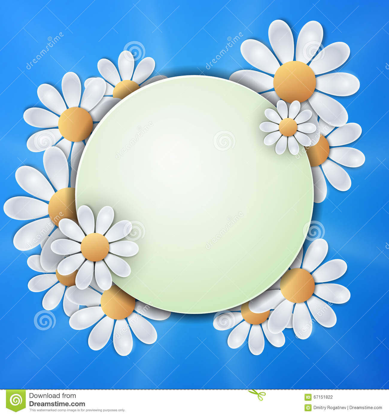 Floral Invitation Design With Paper Daisy Flowers. Stock Vector.