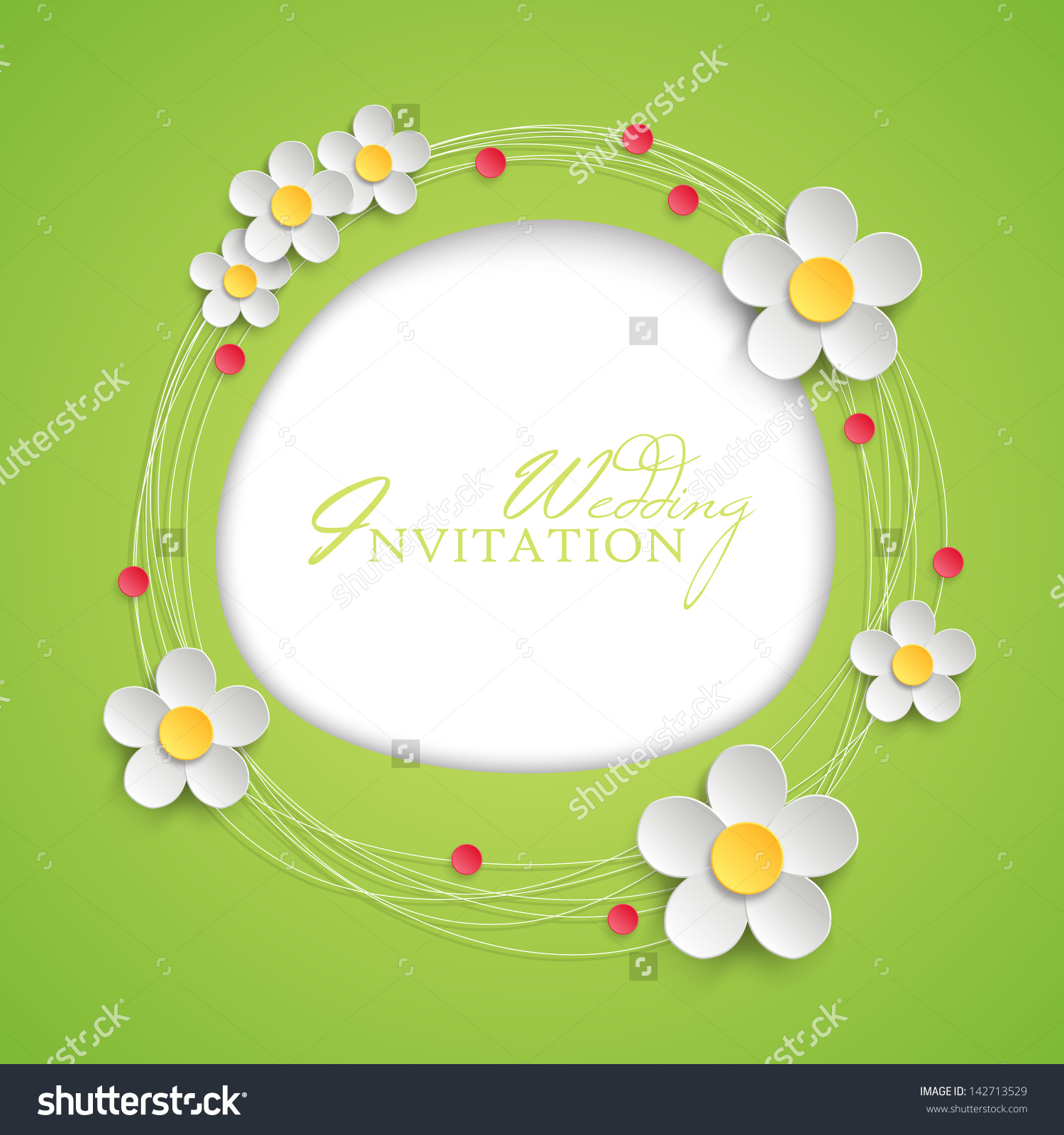 Floral Invitation Design With Paper Daisy Flowers. Vector.