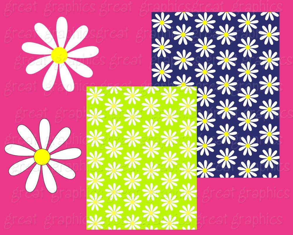 Daisy Digital Paper Flower Paper Daisy Digital Clip Art Printable.