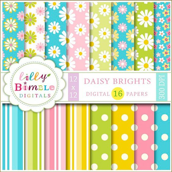 Digital papers, Daisies and Scrapbooking on Pinterest.