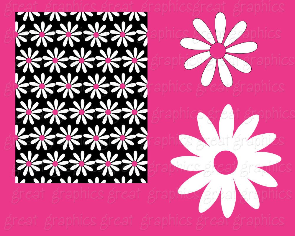 Daisy Digital Paper Flower Paper Daisy Digital Clip Art Printable.