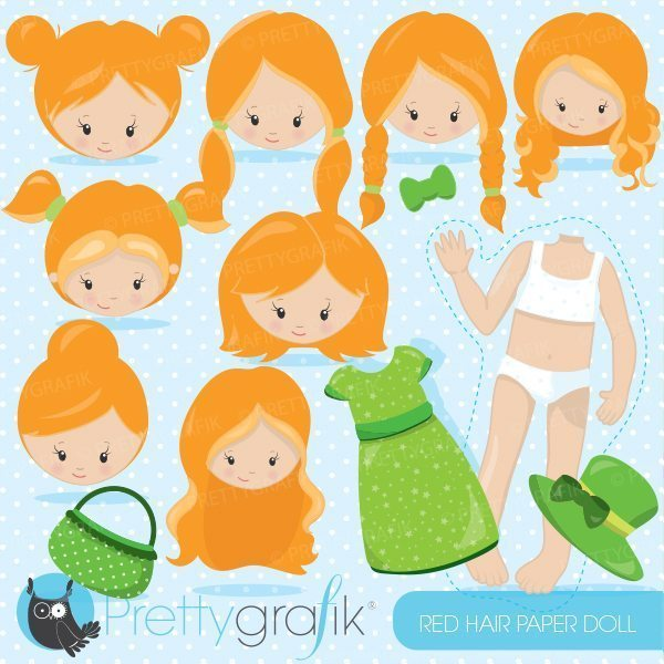 Red hair paper doll clipart.