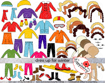 Dress Up for Winter Clothing and Paper Doll Clipart Set by.