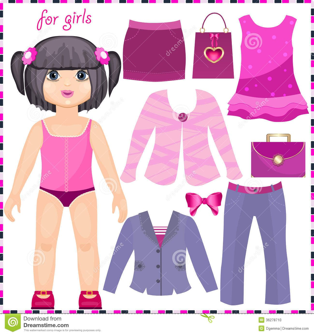 Paper Doll With A Set Of Elegant Clothes.