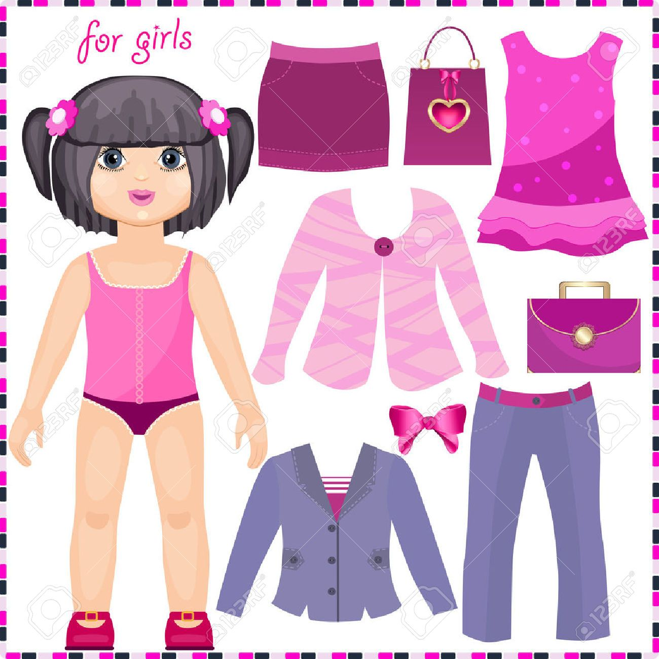 girl paper doll clothes clipart.