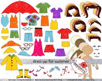 Dress Up for Summer Clothing and Paper Doll Clipart Set by.