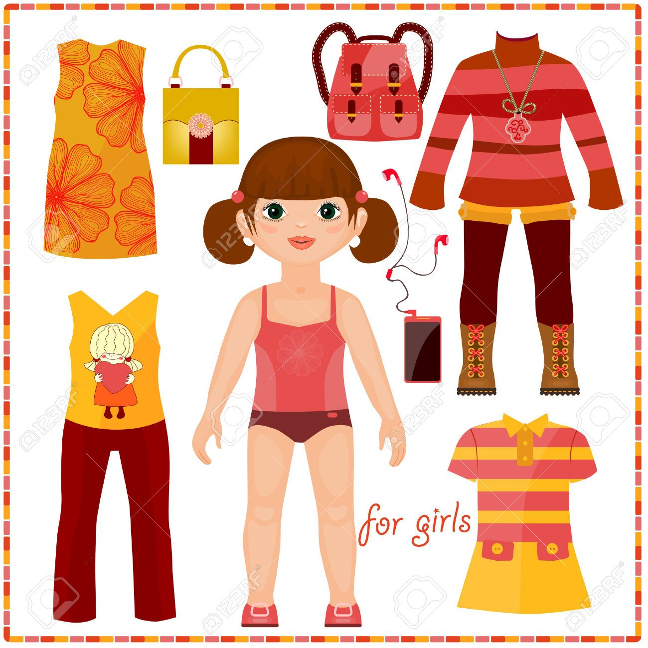 paper doll with clothes clipart.